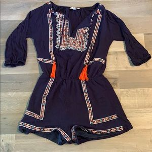 Listicle Small Navy Embroidered Romper